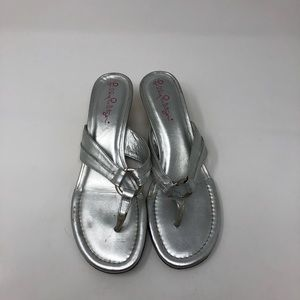 Lilly Pulitzer Silver Sandal Wedges Size 7